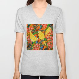 Canaries on Red Unisex V-Neck