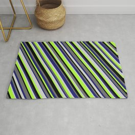 Colorful Midnight Blue, Light Gray, Light Green, Black, and Dim Grey Colored Stripes/Lines Pattern Rug