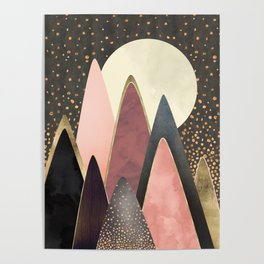 Pink and Gold Peaks Poster