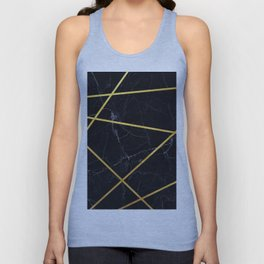 Black marble with gold lines Unisex Tank Top