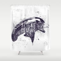 ripley Shower Curtains featuring Aliens are coming by Li.Ro.Vi