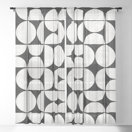Mid-Century Modern Pattern No.2 - Concrete Sheer Curtain