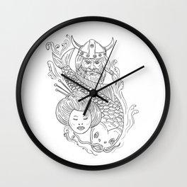Viking Carp Geisha Head Black and White Drawing Wall Clock