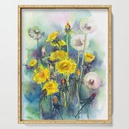 Watercolor dandelion flowers illustration Serving Tray