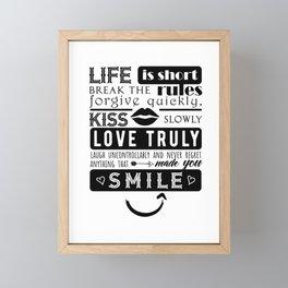 Life is short Framed Mini Art Print