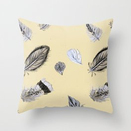 Creamy feathers Throw Pillow