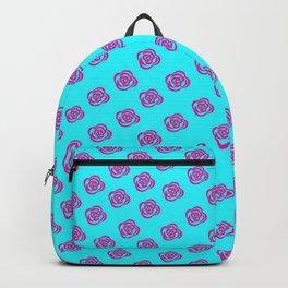 Pink Rose, Light Blue Background Backpack