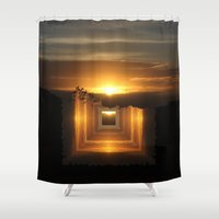 jazzberry Shower Curtains featuring Catch a little sunrise and save it for a rainy day by Donuts