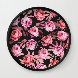 Pink Girly Floral Faux Rose Gold Leaf Pattern Wall Clock