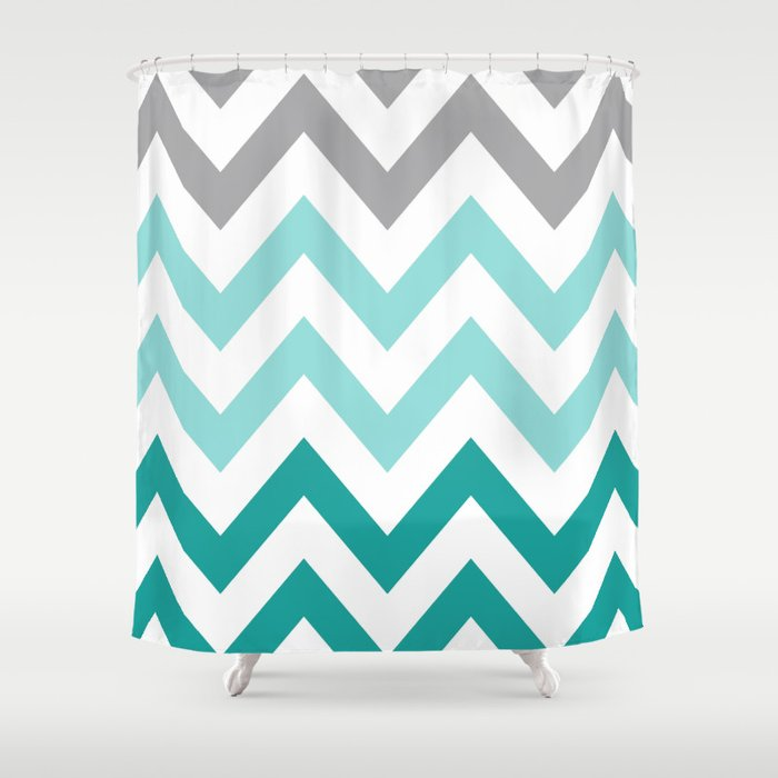 TEAL FADE CHEVRON Shower Curtain By Nataliesales