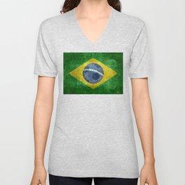 Vintage Brazilian flag with football (soccer ball) Unisex V-Neck