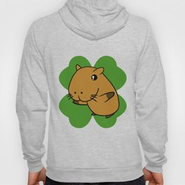 Capybara On 4 Leaf Clover- St. Patricks Day Pun Hoody
