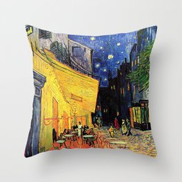 The cafe terrace on the place du forum, Arles, at night, by Vincent van gogh.  Throw Pillow