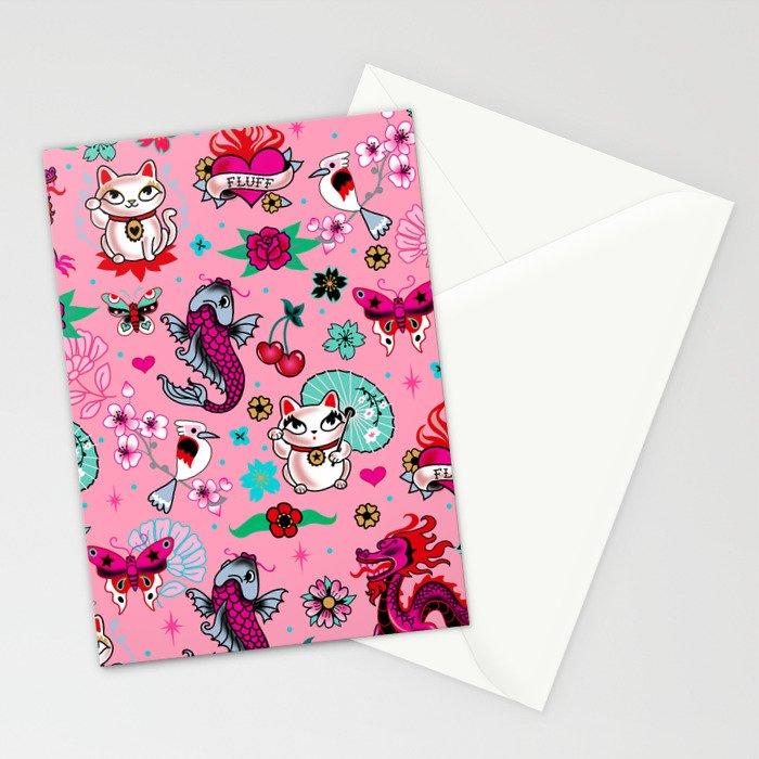 Lucky Cat Maneki Neko , Dragons and Koi fish On Pink Stationery Cards