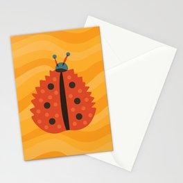 Orange Ladybug Autumn Leaf Stationery Cards