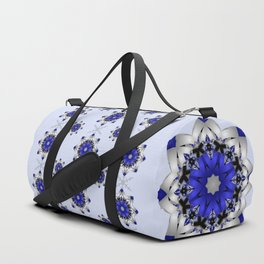 Magical snowflakes in blue, silver and grey Duffle Bag