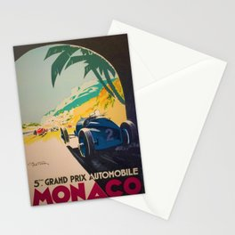 Vintage 1933 Monaco Grand Prix Car Advertisement Poster by Geo Ham Stationery Cards