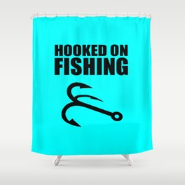 Hooked on fishing sports logo Shower Curtain