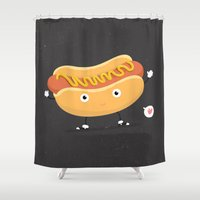 hot dog Shower Curtains featuring Hot Dog by Céline Dscps