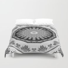 Shades of Grey - Geometric Floral Pattern Duvet Cover
