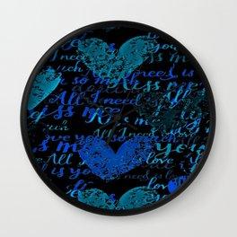 Kiss Me, Miss me Blue Wall Clock