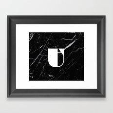 Black Marble - Alphabet U Framed Art Print
