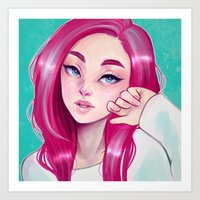 cyarin Art Prints featuring Freckly by Cyarin