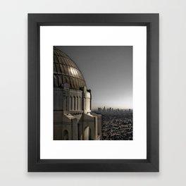 Griffith Park Observatory with Downtown LA Skyline Framed Art Print