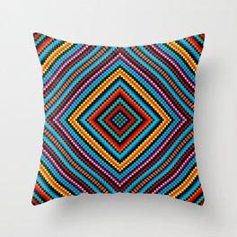 Simple Rainbow Chakra Mandala - Colorful - Romb - Folk Geometry - Black Throw Pillow