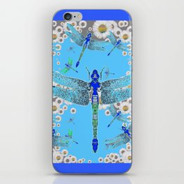 BLUE DRAGONFLIES LILAC WHITE DAISY FLOWERS  ART iPhone Skin