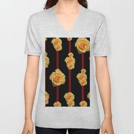 Contemporary Peach Color Roses On Black Unisex V-Neck