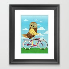 Owl Bicycle Framed Art Print