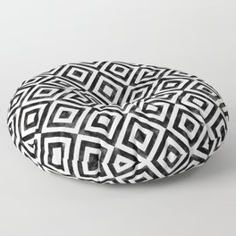 Black and white watercolor diamond pattern Floor Pillow