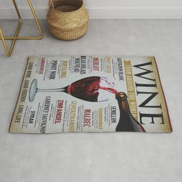 Vintage Wines from around the world Wine Advertisement Wall Art Rug