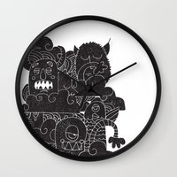monsters Wall Clocks featuring MONSTERS by Matthew Taylor Wilson