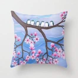 tree swallows & magnolia Throw Pillow
