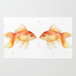 Goldfish Love Watercolor Fish Painting Rug