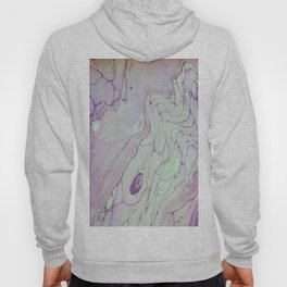 Fluid Art Acrylic Painting, Pour 26, Purple & Turquoise Blended Color Hoody