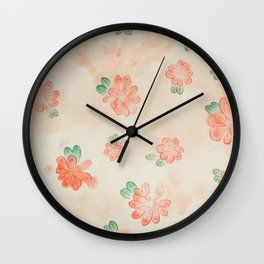 Meandering Red Flowers Wall Clock
