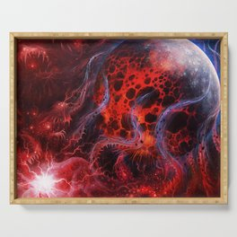 Scary Cosmic Ghost Monster Consuming Exploding Planet Whole Ultra HD Serving Tray