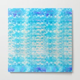 Abstract Cyan Tie-Dye Metal Print