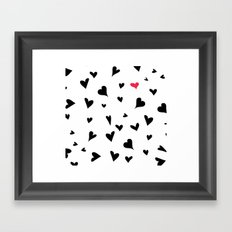black hearts with one pink one  Framed Art Print