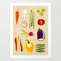 vegetables Art Prints featuring Vegetables by Yetiland