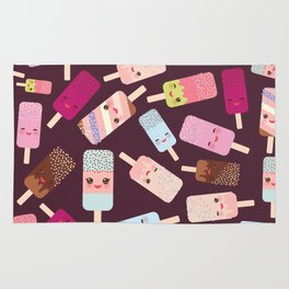summer ice cream, ice lolly  Kawaii with pink cheeks and winking eyes Rug