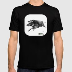 Running Boar Black Mens Fitted Tee MEDIUM