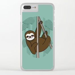 Kawaii sloth Clear iPhone Case