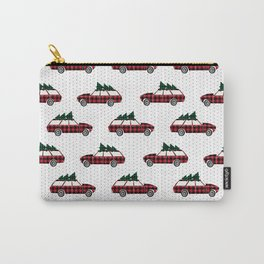 Plaid station wagon suv christmas tree vintage inspired christmas pattern Carry-All Pouch