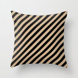 Tan Brown and Black Diagonal RTL Stripes Throw Pillow