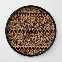 Golden Renaissance Damask Wall Clock