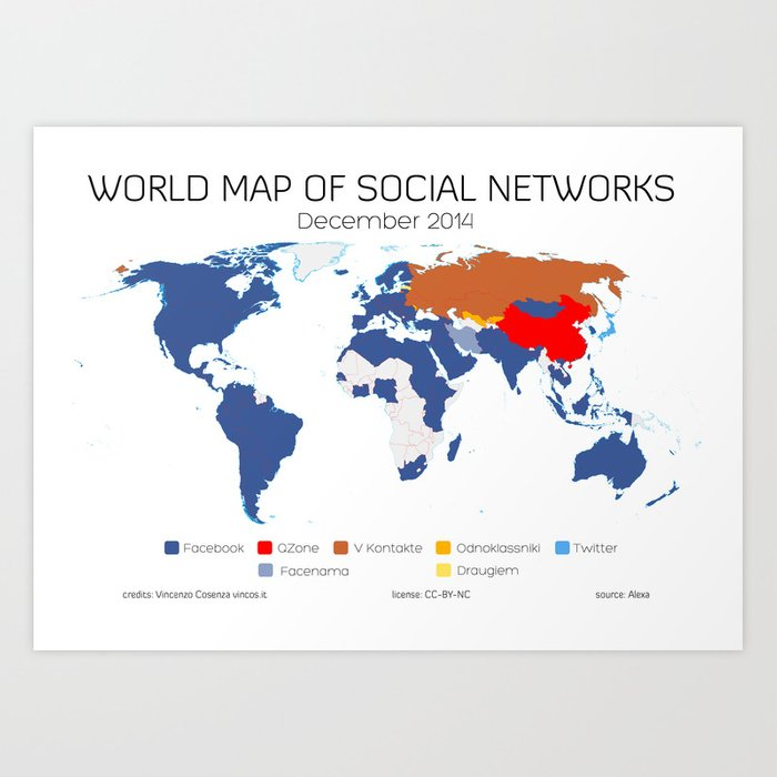 World Map of Social Networks (December 2014) Art Print